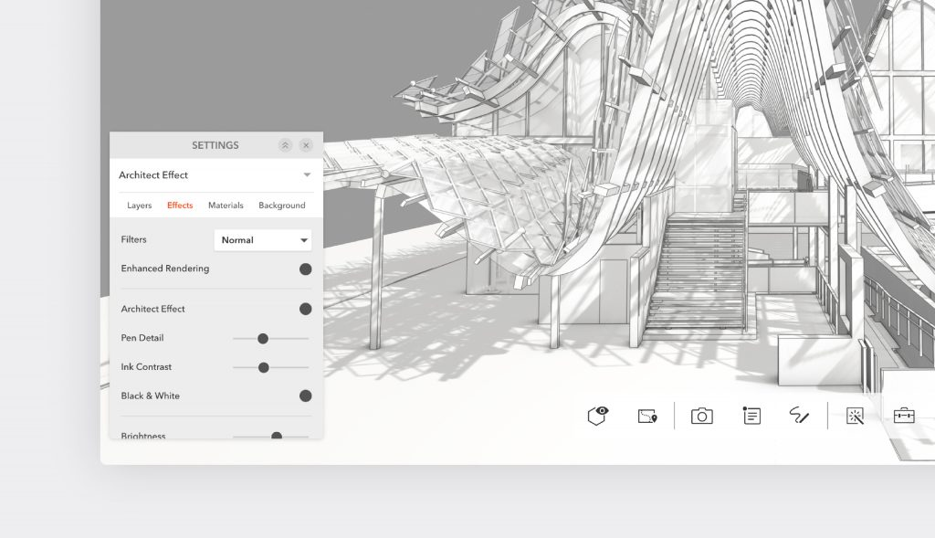 Use Architect Effect to get your desired effect with pen detail and enhanced rendering in Modelo.